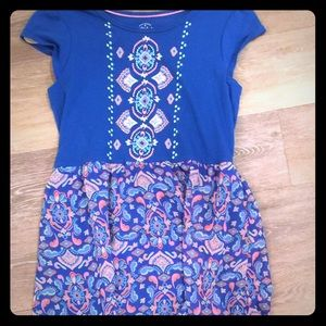 Blue, Pink dress and handkerchief skirt SZ 14/16